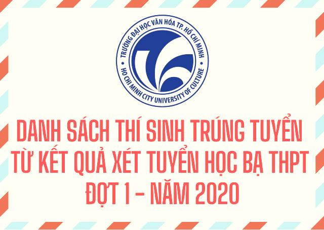 Danh sách thí sinh trúng tuyển bậc đại học hệ chính quy năm 2020 (xét tuyển đợt 1- từ kết quả học tập bậc THPT)