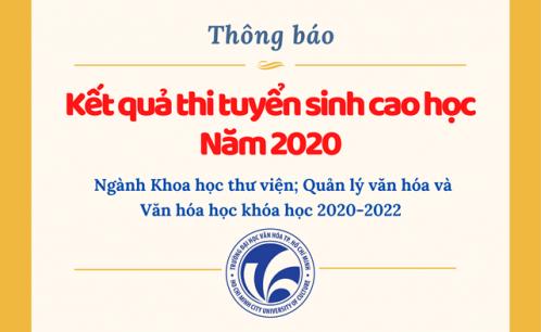 Thông báo kết quả thi tuyển sinh cao học năm 2020, ngành Khoa học thư viện, Quản lý văn hóa và Văn hóa học khóa học 2020-2022.