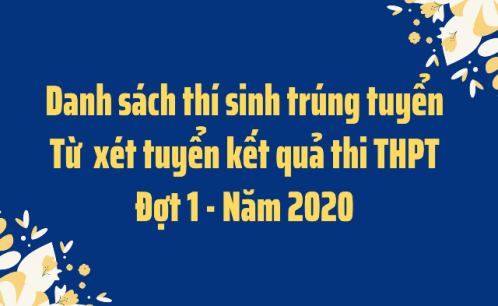 Danh sách thí sinh trúng tuyển bậc đại học hệ chính quy năm 2020 (xét tuyển đợt 1- từ kết quả thi tốt nghiệp THPT)