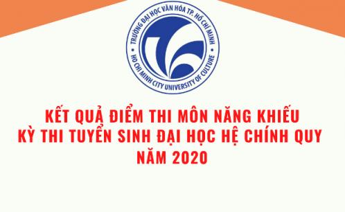 Thông báo kết quả điểm thi môn năng khiếu kỳ thi tuyển sinh đại học hệ chính quy năm 2020