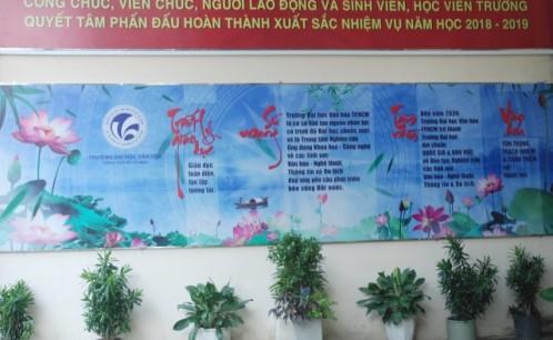 Trường Đại học Văn hóa TP. Hồ Chí Minh và công tác tuyên truyền Sứ mạng, Tầm nhìn, Mục tiêu, Văn hóa, Chính sách chất lượng và Mục tiêu chất lượng.
